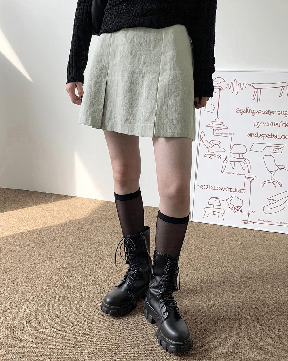 Julie linen pleated skirt