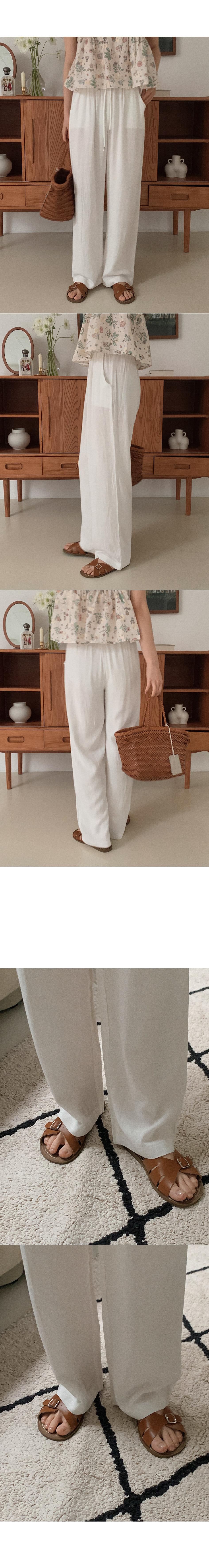 Stuffed linen banding pants