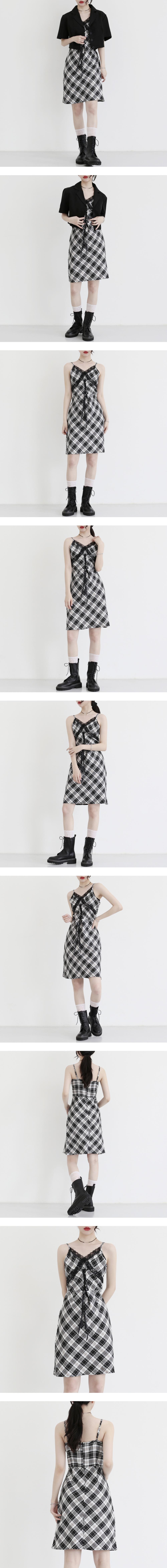 Maron check sleeveless Dress