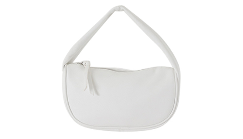 Flat Round Leather Tote Bag