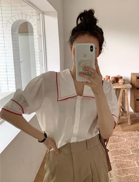 Alps linen puff blouse