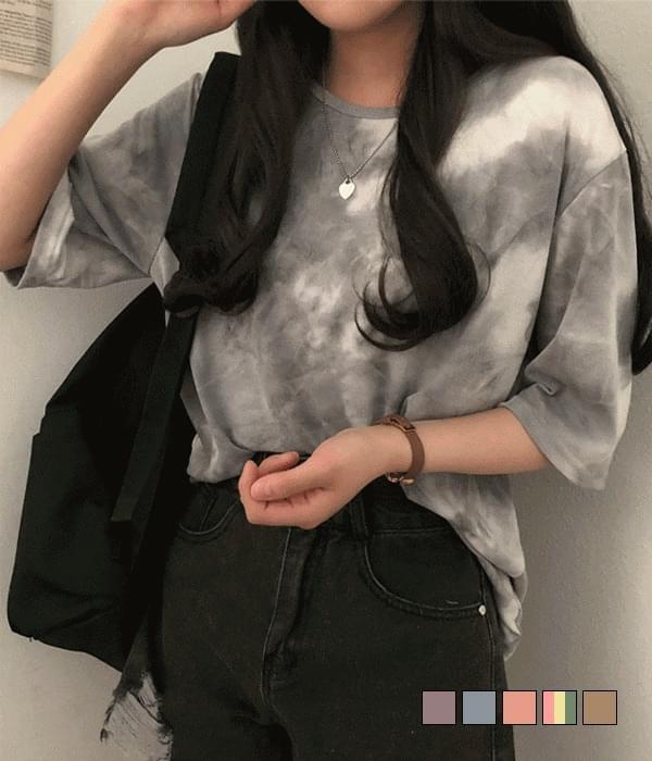 Thunder water print tie-dye overfit short-sleeved T-shirt