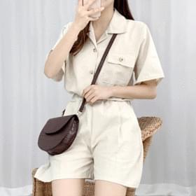 Basic Linen Shirt Two Piece