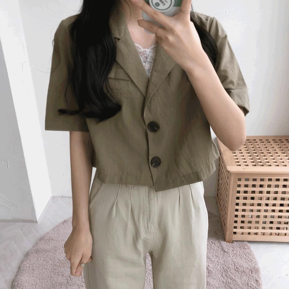 Cor-cropped short-sleeved single jacket