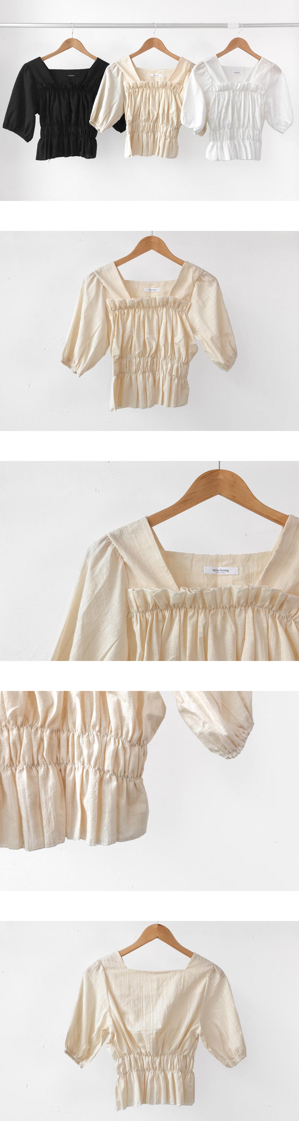 Ray shirred short-sleeved blouse