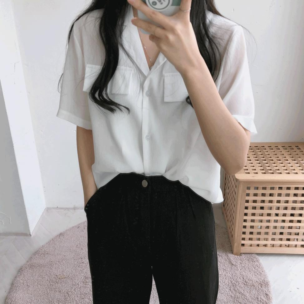 Coco pocket short-sleeved shirt blouse