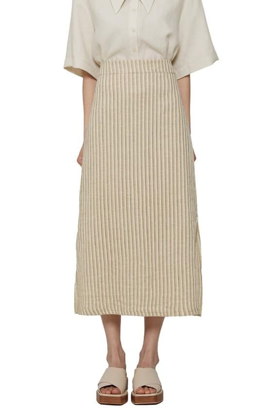 Cover Stripe Linen Long Skirt