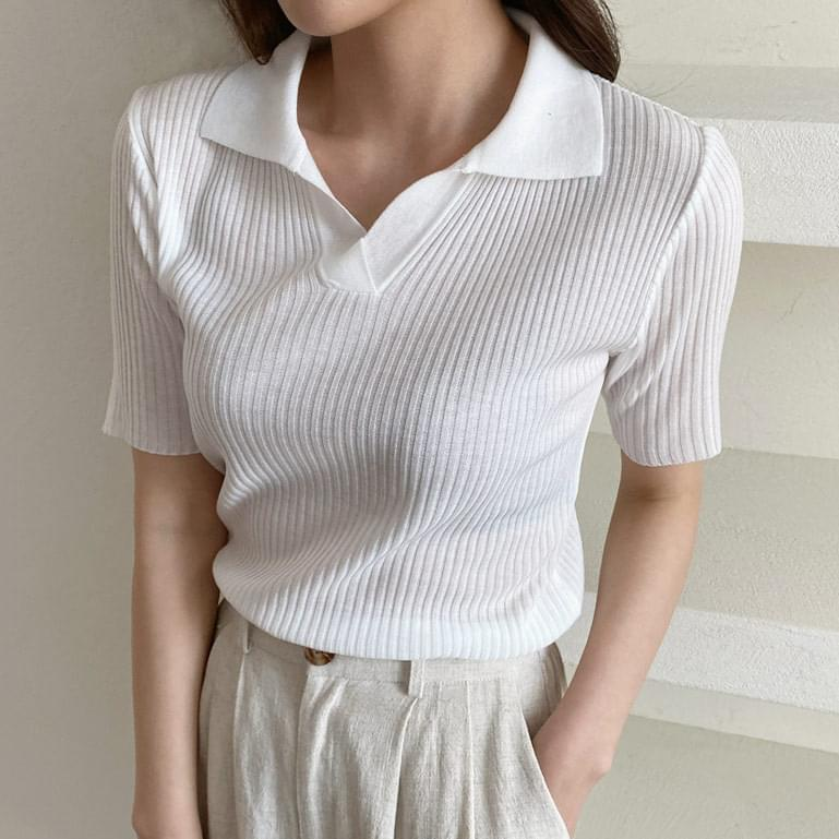 Ribbed Split Collar Short Sleeve Knitwear