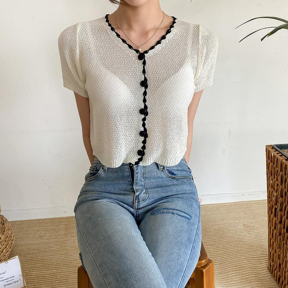 Macaron Sheer Button Short Sleeve Knitwear