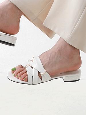 Isshu doubling cross low heel mules slipper 7071