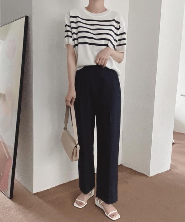 Fold Striped Short Sleeve Knitwear