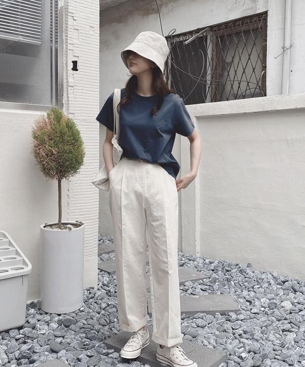 Summer Broad Pintuck Cotton Slacks Pants