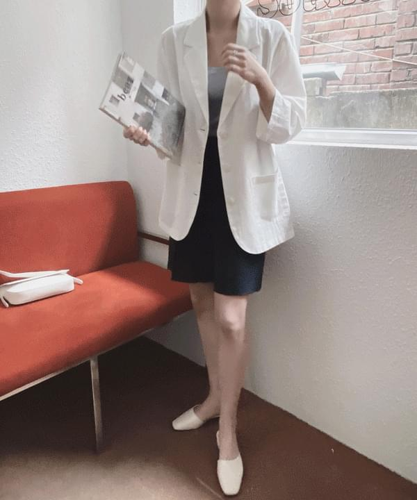 7-piece linen single jacket with clip