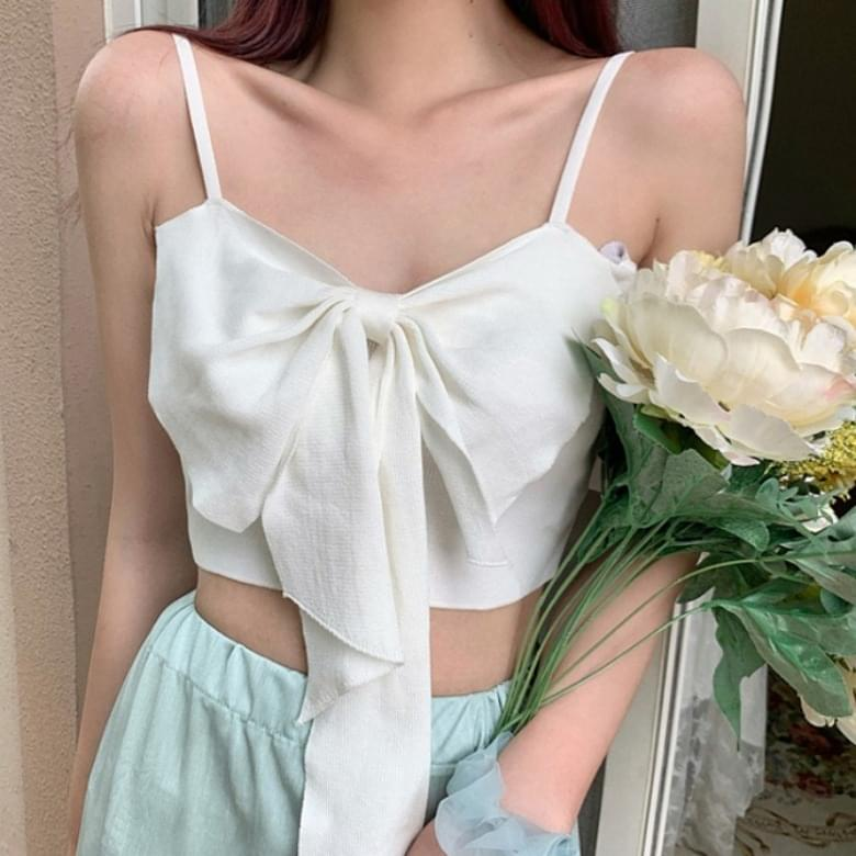 Knitwear camisole bow sleeveless top