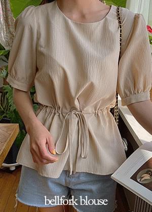 Belfolk ribbon puff-sleeve blouse