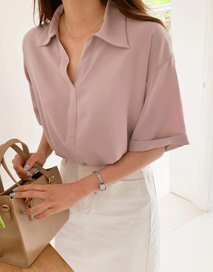 Rain Open Collar Shirt Blouse