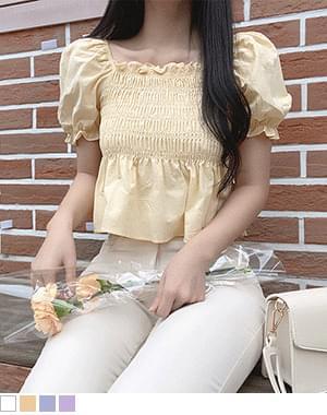 Bayo smoke short-sleeved blouse