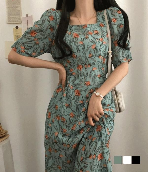 Sweet Flower Square Neck Long Dress