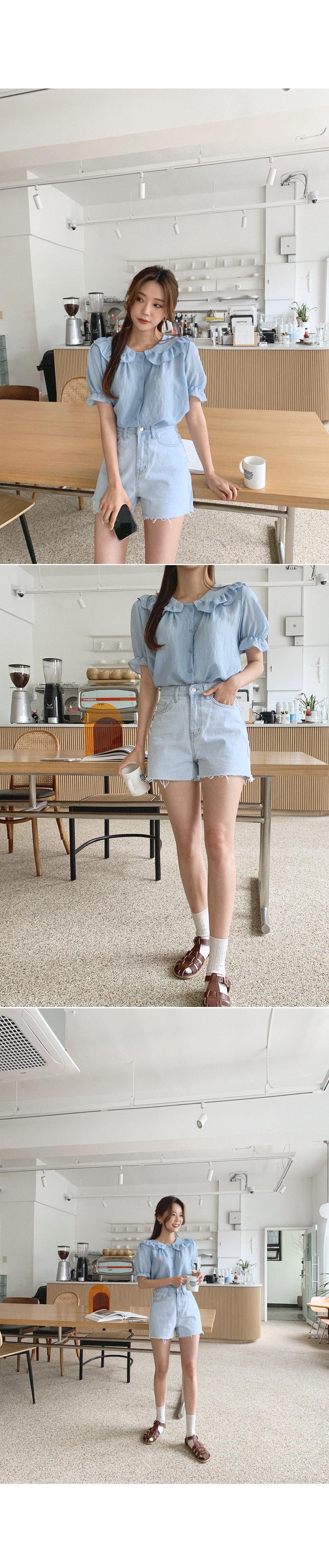 The long-awaited Light Blue denim shorts