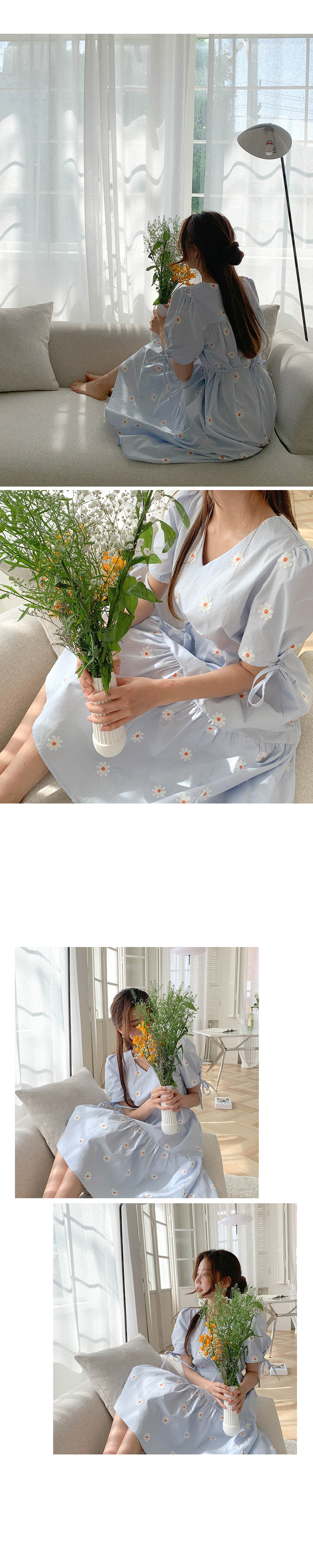 Daisy-scented embroidered ribbon Dress