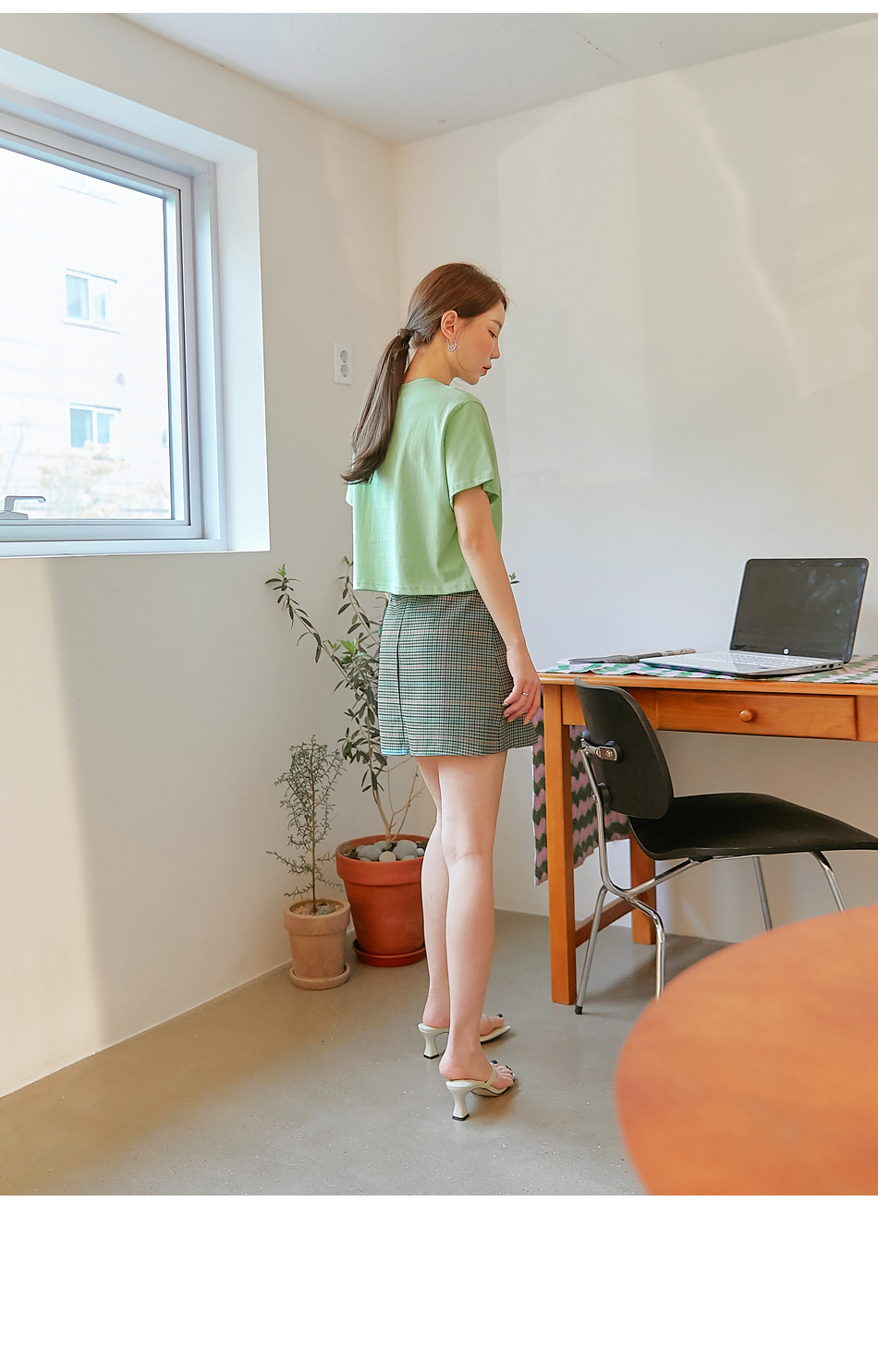 Pleat Accent A-Line Check Skirt