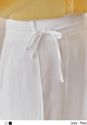 CONODY LINEN STRAP WIDE PANTS