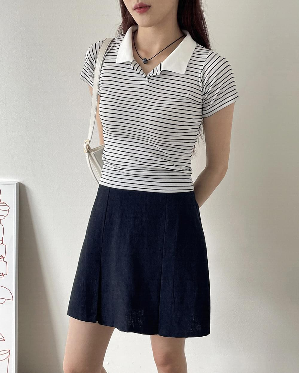 Binz striped Striped cropped collar T-shirt