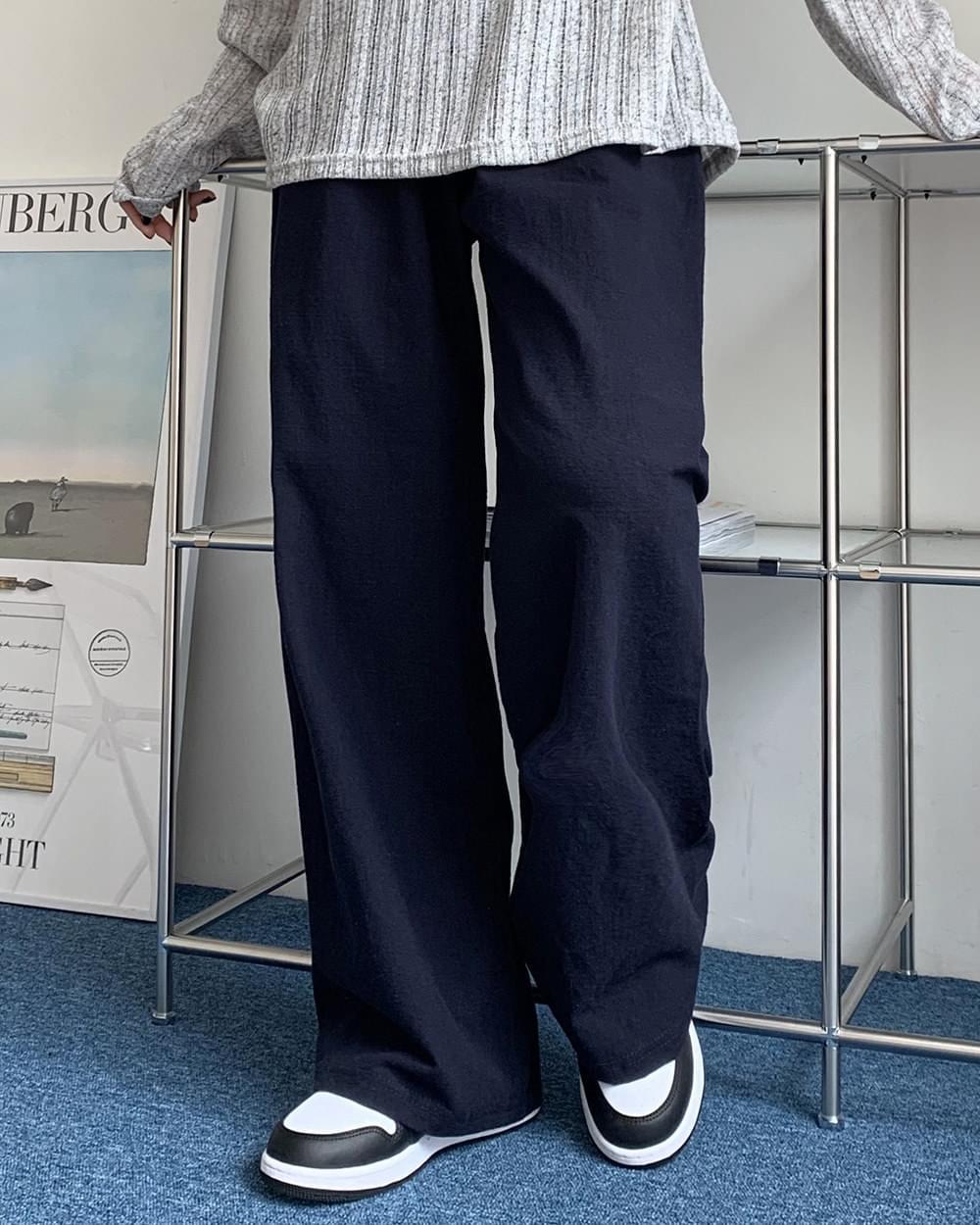 L Linen banding wide pants