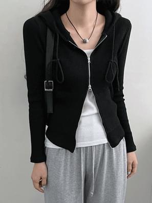 2-way Ribbed hooded zip-up