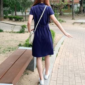 Back Ribbon Cotton PK Dress