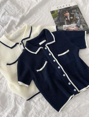 Ponzu collarneck linen cardigan