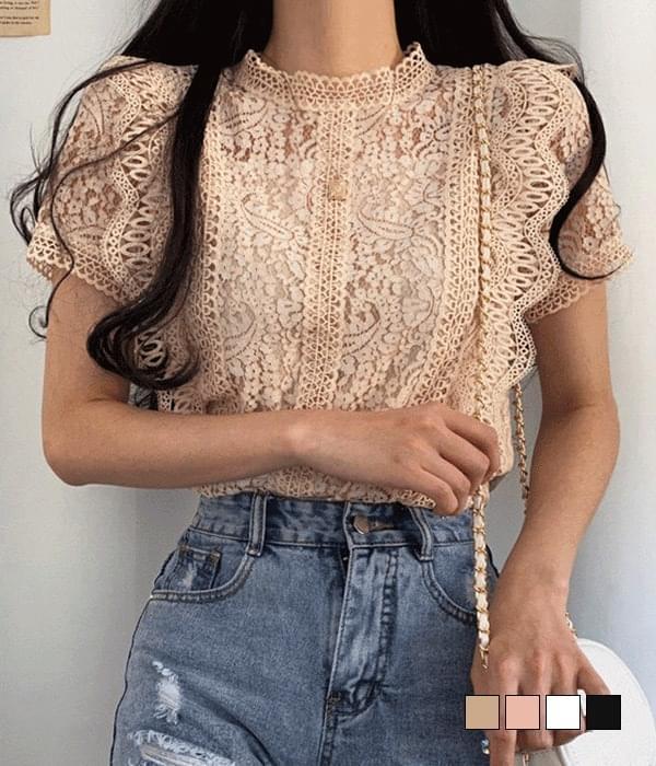 Marigold lace short sleeve blouse
