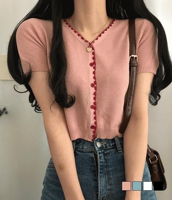 Moroda color wave short sleeve cardigan
