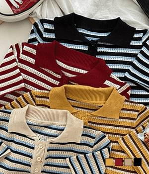 Olio Stripe Collar Short Sleeve Knitwear