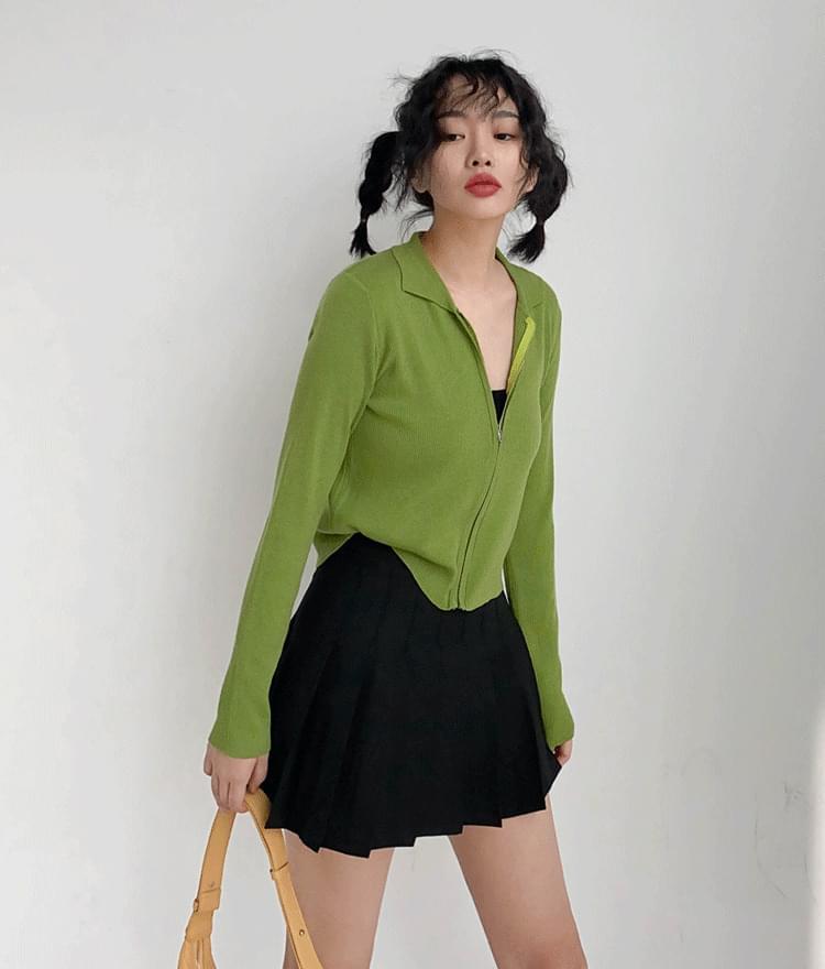 Collar cropped zip-up tennis skirt pants
