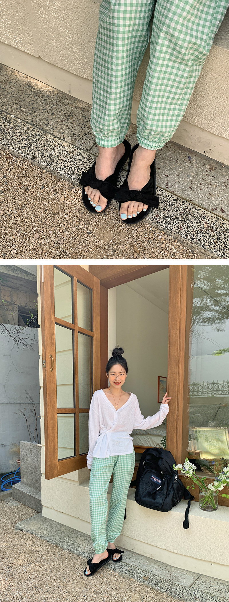 Suede ribbon slippers