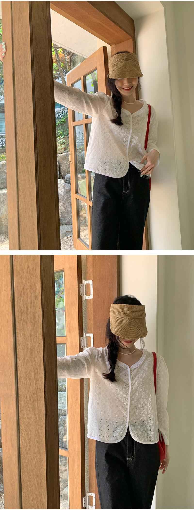 Mini frill punching cotton cardigan