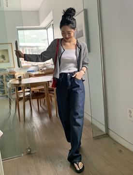 Raw wide denim pants