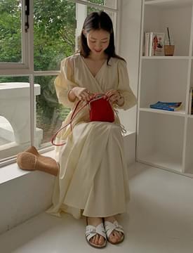 Triple Ribbon Wrap Dress