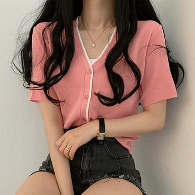 Color short sleeve cardigan
