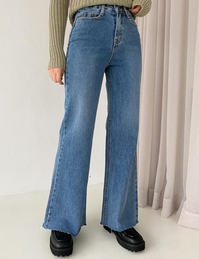 韓國空運 - no.2200 wide Flared denim Dark Blue 牛仔褲