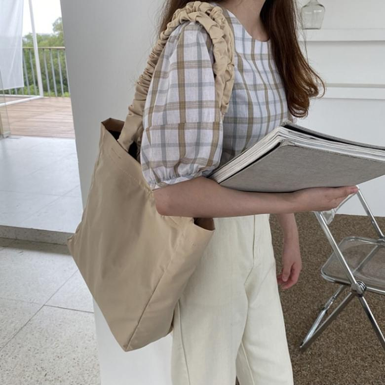 Ruched pleated shopper tote bag