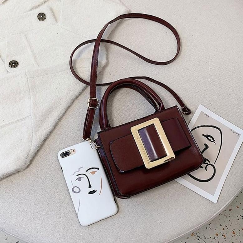 Big Buckle Shoulder Leather Mini Bag