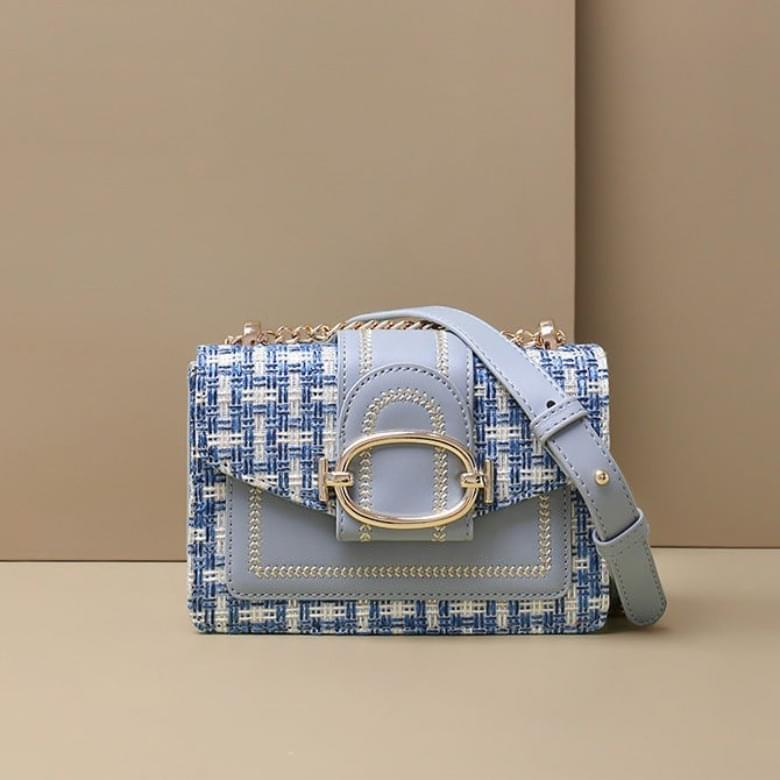 Check Tweed Square Leather Bag