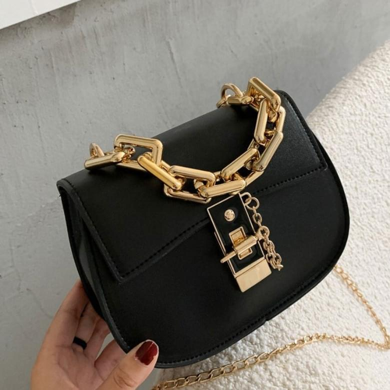 Round Gold Ring Buckle Leather Bag
