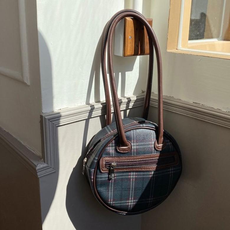 Round Tartan Check Leather Bag