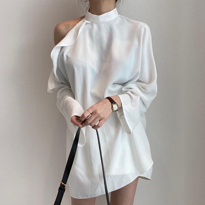 Off shoulder long chic blouse