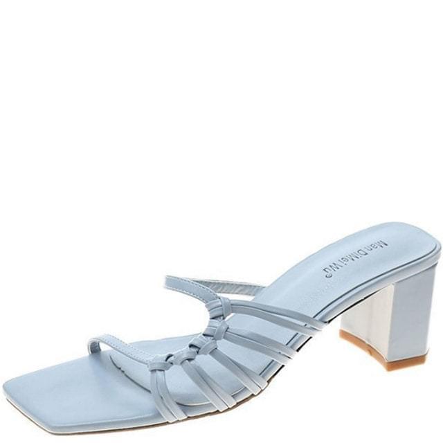 韓國空運 - Knotted Slim Strap Middle Heel Mule Slippers Blue 涼鞋