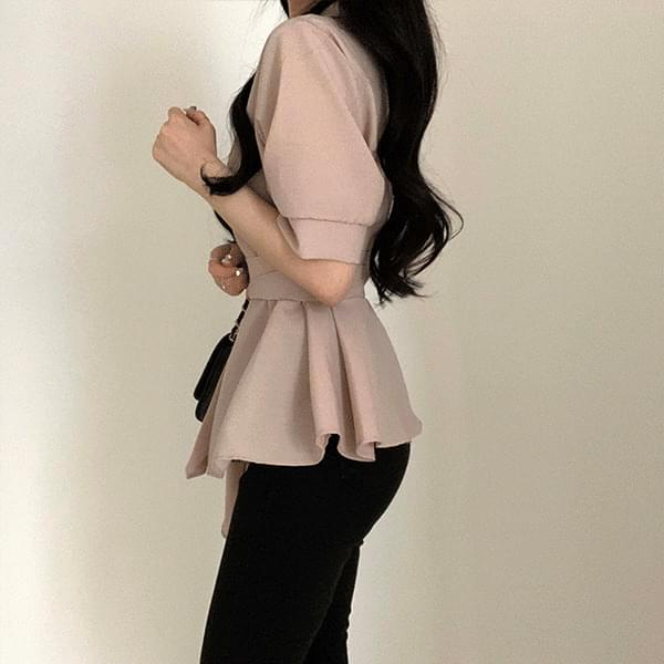 Short sleeve belted blouse