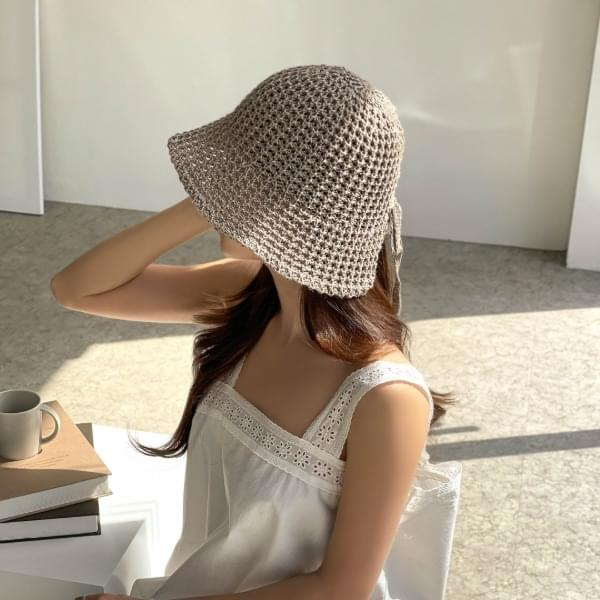 소프트 니트 보넷 벙거지 리본끈 모자 4color